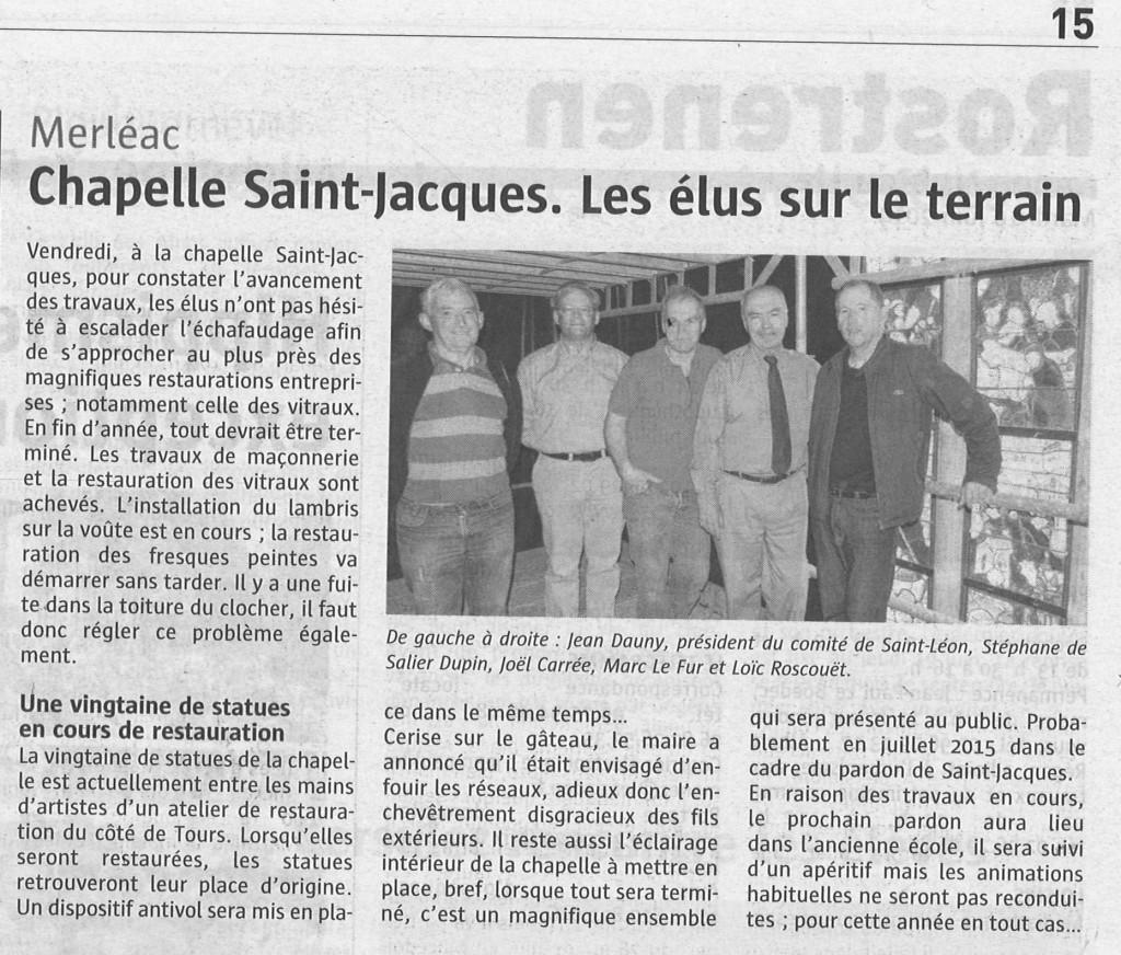 Chapelle St-Jacques à Merléac 6 juin 2014