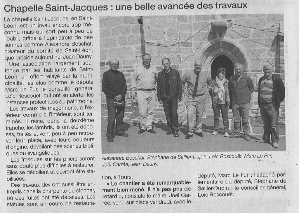Chapelle St-Jacques à Merléac 6 juin 2014 Ouest-France