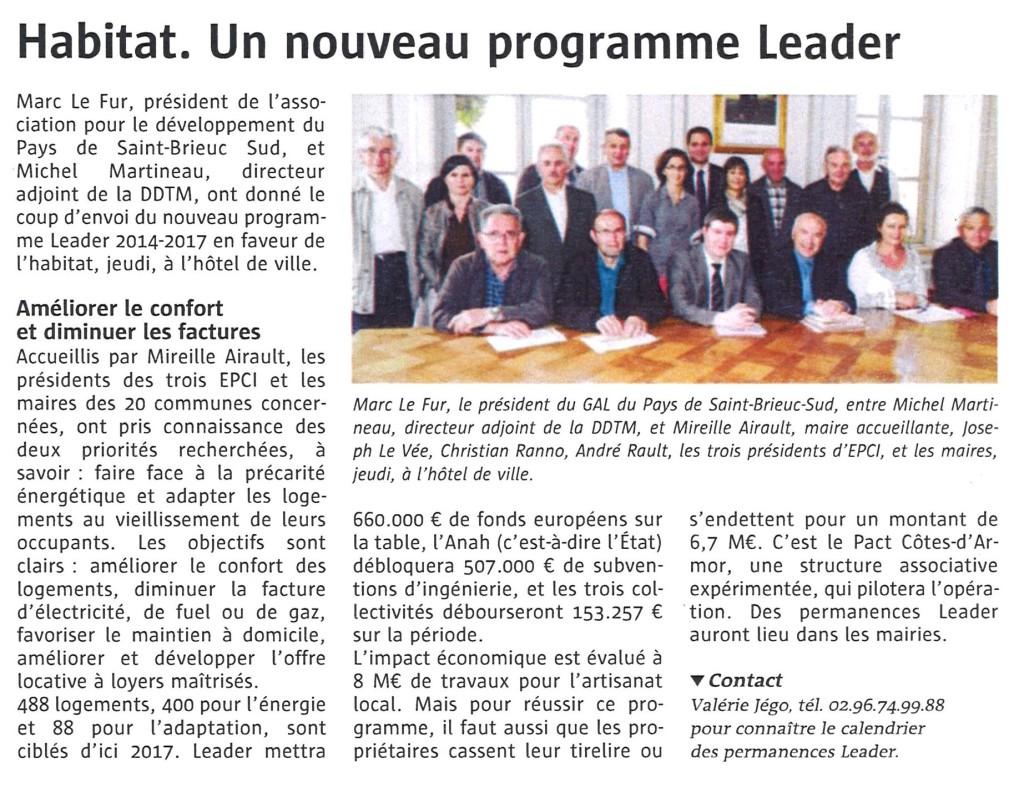 Habitat un nouveau programme LEADER Le télégramme 11 juin 2014