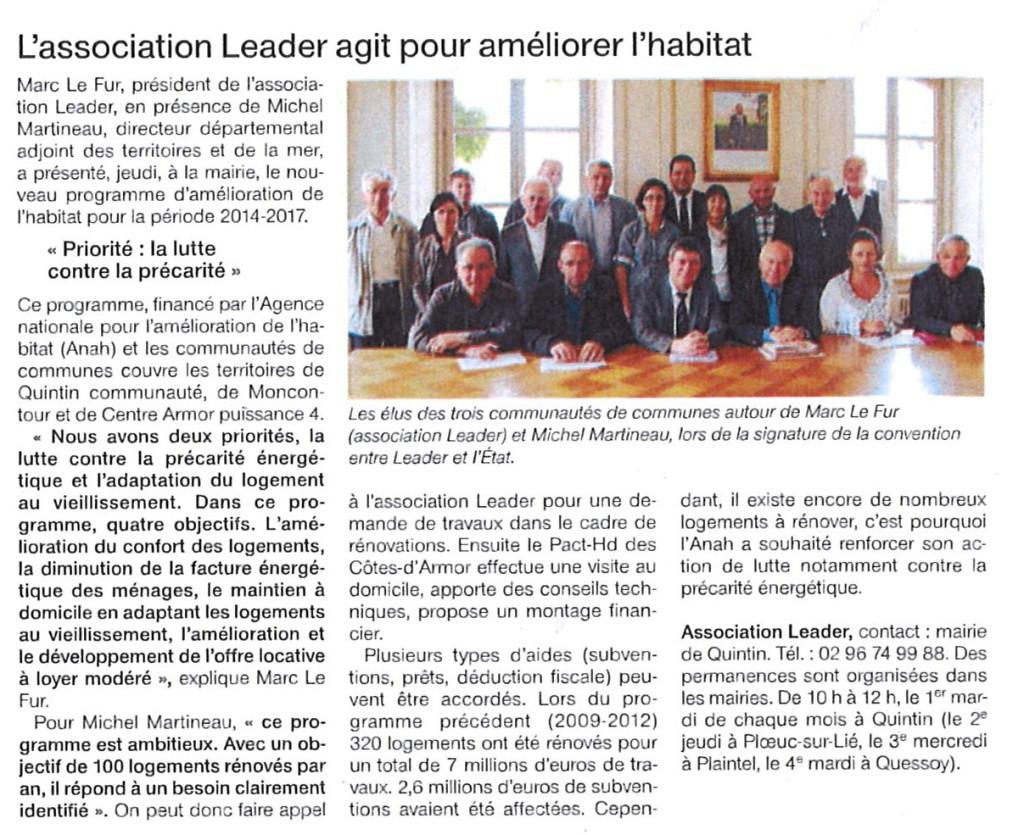 L'association LEADER agit pour améliorer l'habitat Ouest-France 9 juin 2014