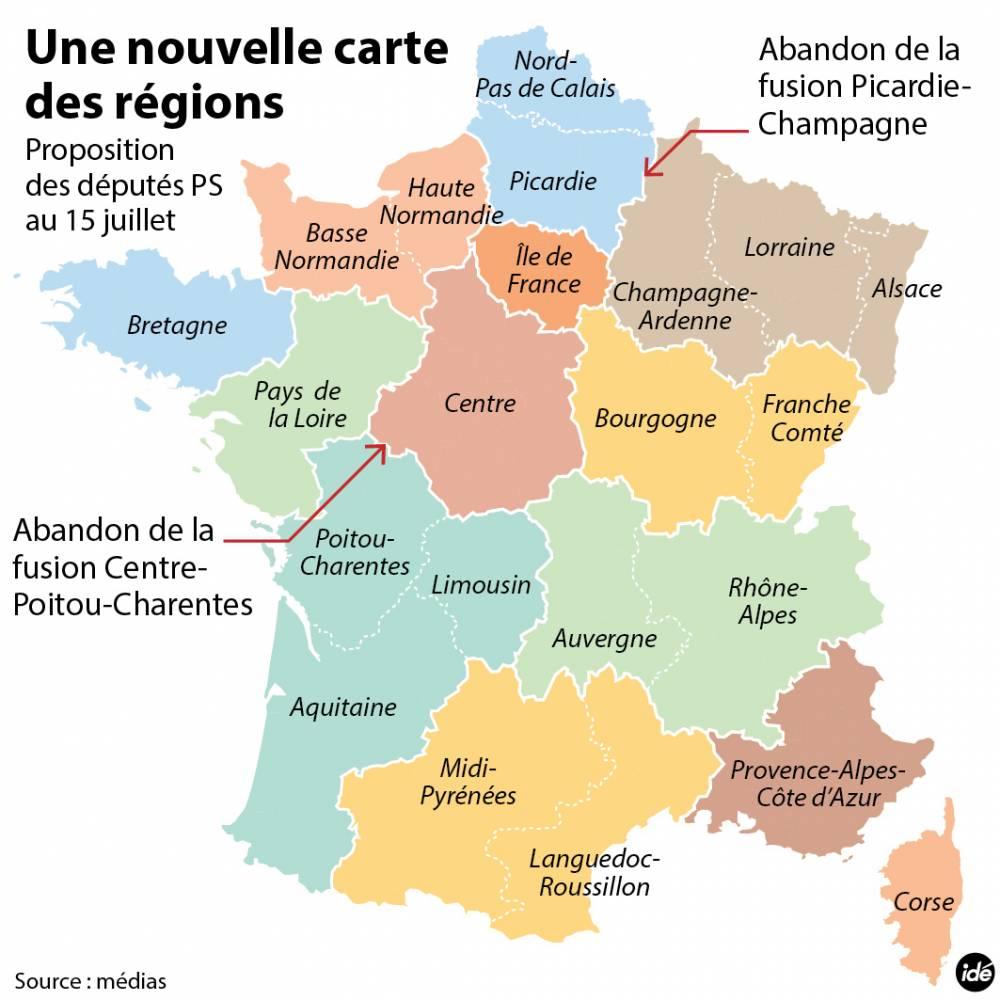Nouvelle carte des régions PS