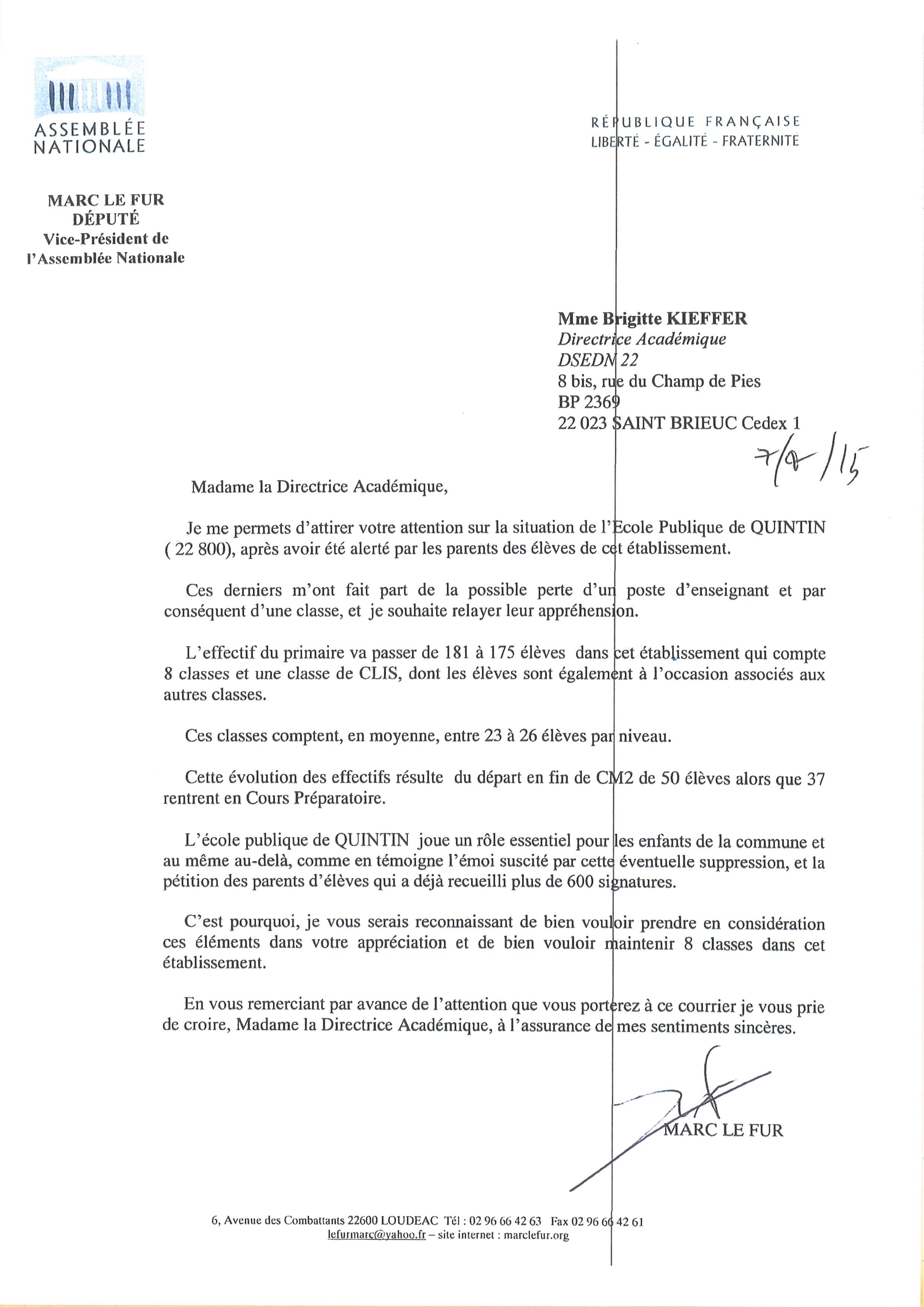 Lettre à l'inspecteur d'académie pour l'école publique de Quintin