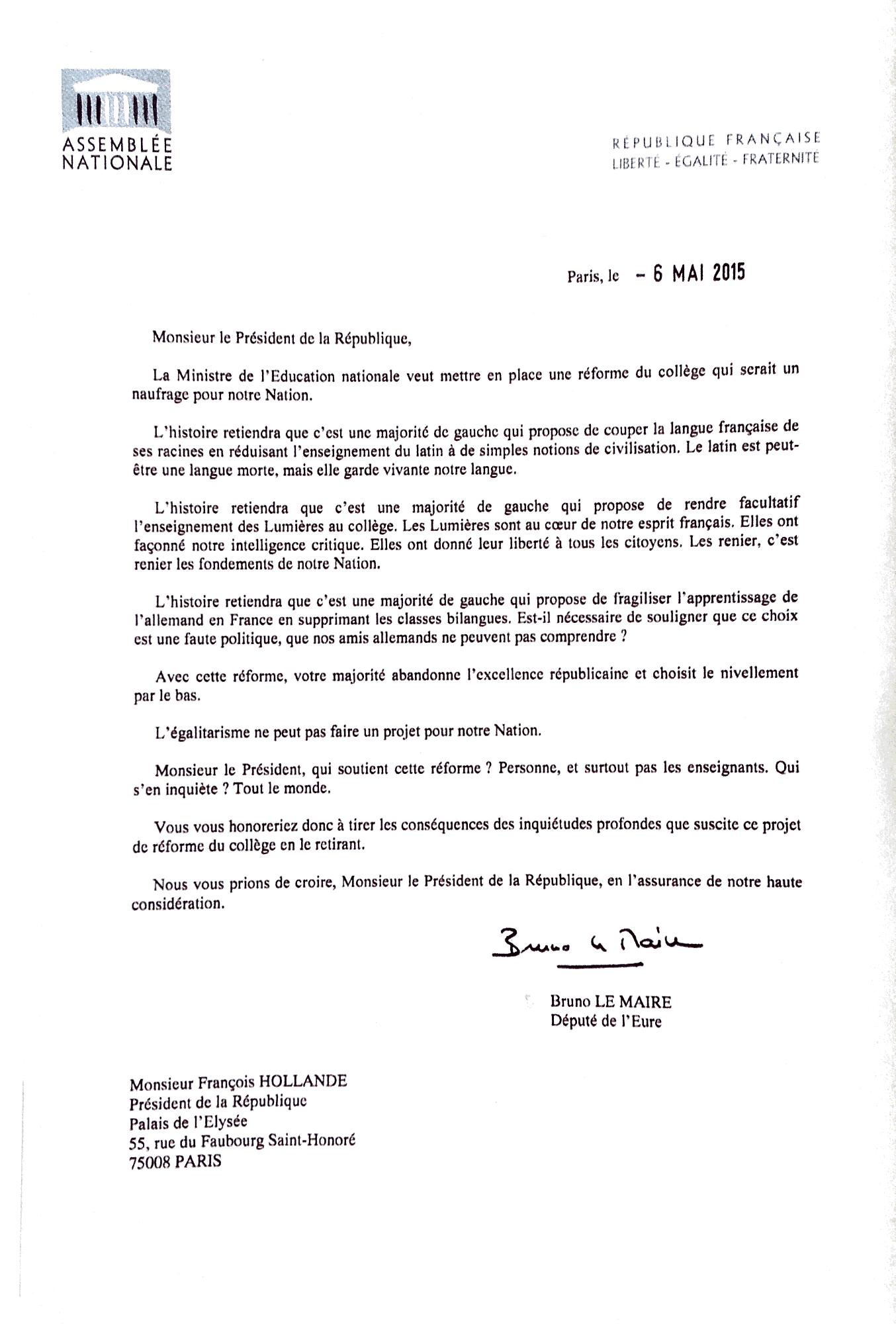 Lettre Pdt pour réforme collège