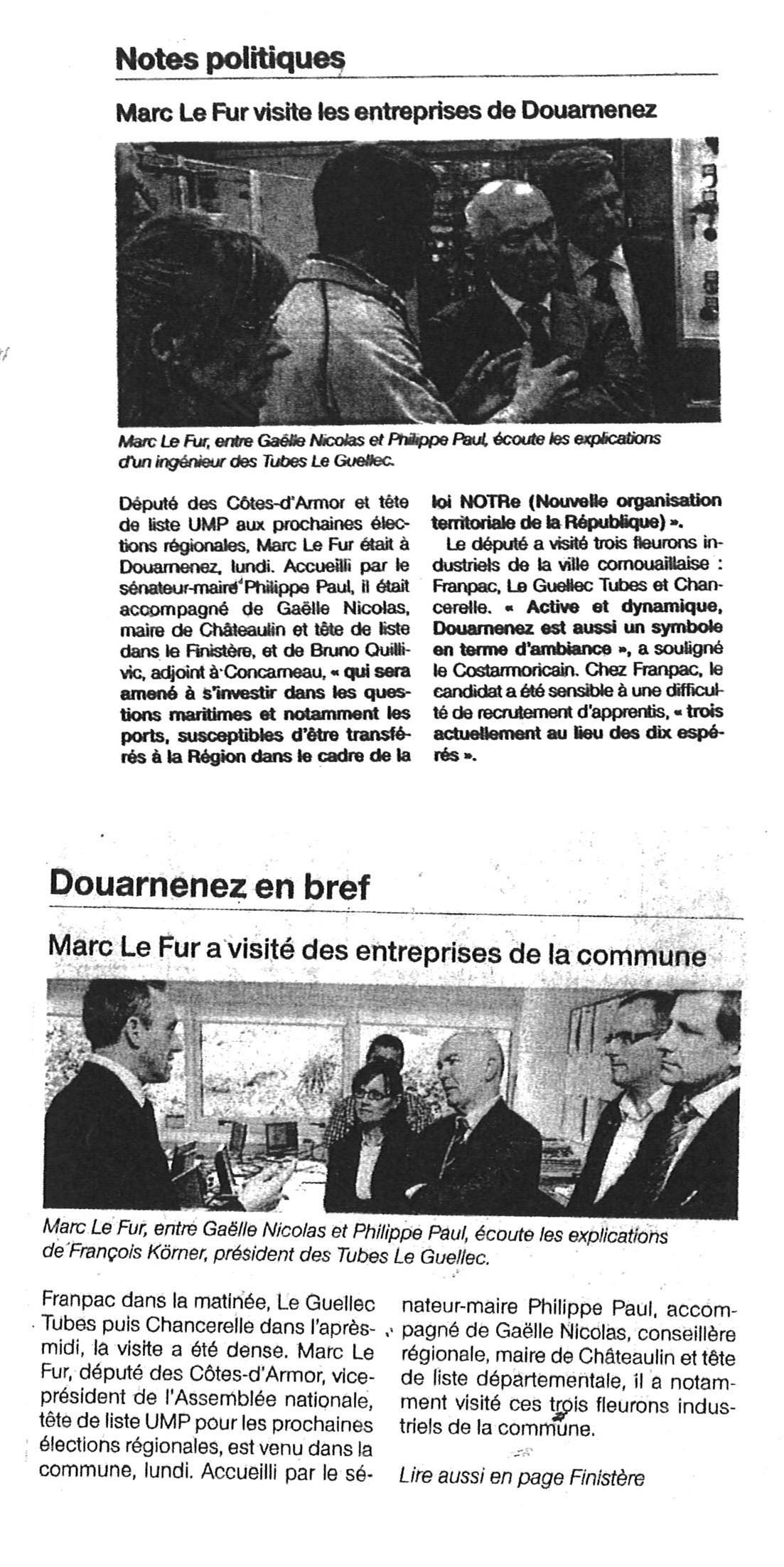 Ouest-France Douarnenez le 18 mai 2015
