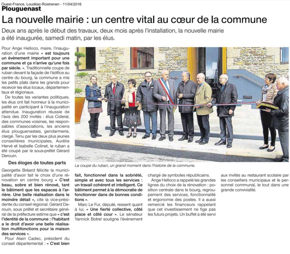 ouest-france inauguration plouguenast
